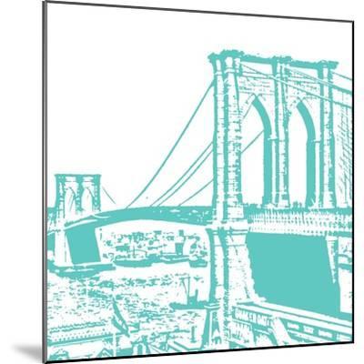 Aqua Brooklyn Bridge-Veruca Salt-Mounted Art Print