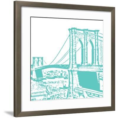Aqua Brooklyn Bridge-Veruca Salt-Framed Art Print