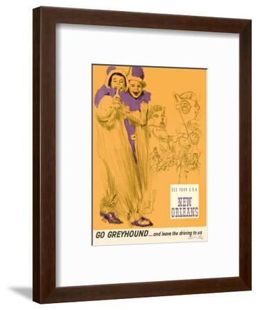 New Orleans - Mardi Gras - Greyhound Bus Lines-George Roth-Framed Art Print