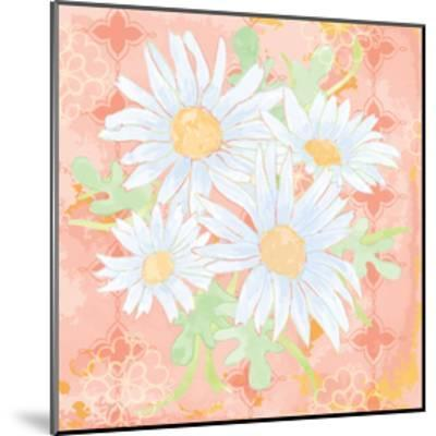 Daisy Patch Coral I-Leslie Mark-Mounted Art Print