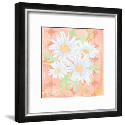 Daisy Patch Coral I-Leslie Mark-Framed Art Print