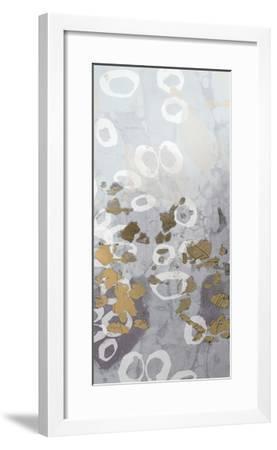 Metallic Foil Golden Droplets II-Jennifer Goldberger-Framed Art Print