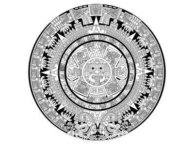 Aztec Calendar Coloring Art--Mounted Coloring Poster