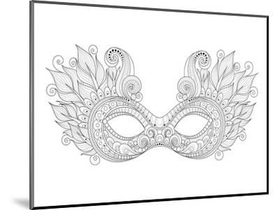 Carnival Floral Mask Feathers Coloring Art--Mounted Coloring Poster