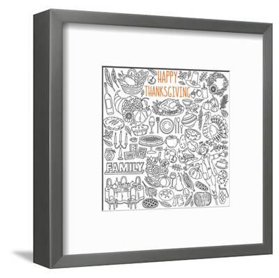 Happy Thanksgiving Coloring Art--Framed Premium Giclee Print