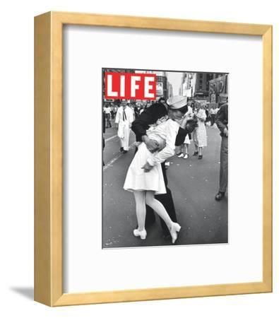 LIFE VJ Day Soldier Kissing girl--Framed Art Print