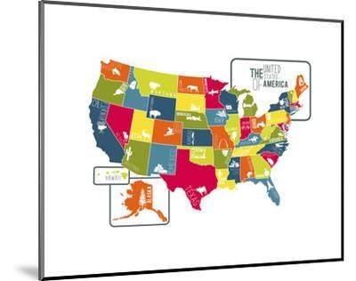 USA Map (bright)-Katelyn Lynch-Mounted Art Print