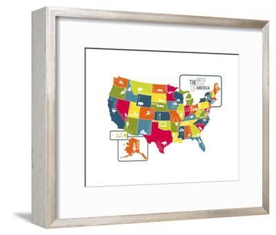 USA Map (bright)-Katelyn Lynch-Framed Art Print