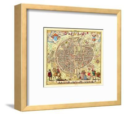 Paris Map by Rossingol 1576--Framed Art Print