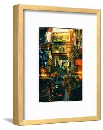 Metropolis Shopping District--Framed Art Print