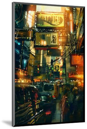 Metropolis Shopping District--Mounted Art Print