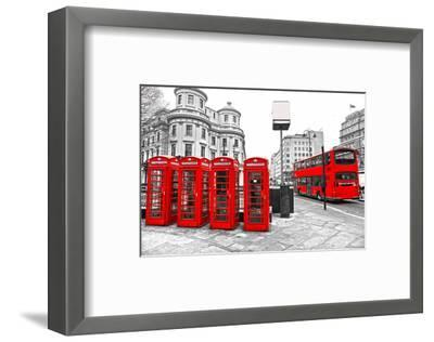 U.K. Black White and Red--Framed Art Print
