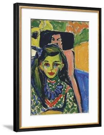Fränzi in front of a Carved Chair, 1910-Ernst Ludwig Kirchner-Framed Premium Giclee Print