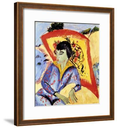 Erna with Japanese Umbrella-Ernst Ludwig Kirchner-Framed Premium Giclee Print