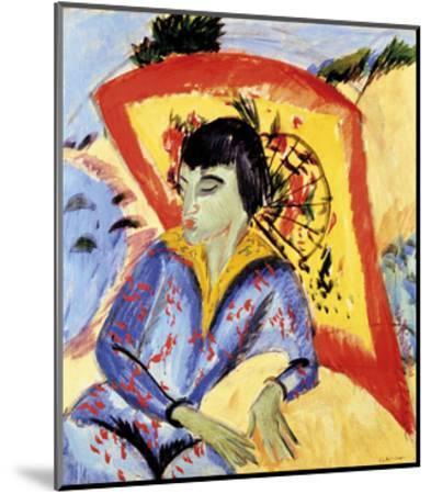 Erna with Japanese Umbrella-Ernst Ludwig Kirchner-Mounted Premium Giclee Print
