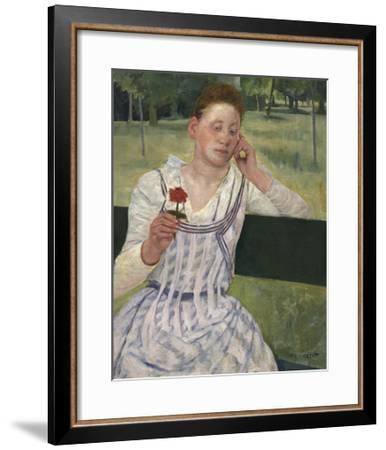 Woman with a Red Zinnia, 1891-Mary Stevenson Cassatt-Framed Premium Giclee Print
