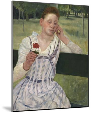 Woman with a Red Zinnia, 1891-Mary Stevenson Cassatt-Mounted Premium Giclee Print