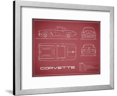 Corvette 33BHP-Maroon-Mark Rogan-Framed Giclee Print