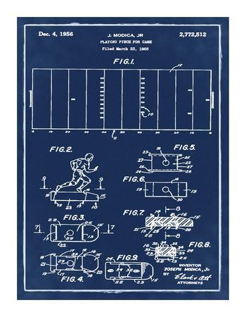 Football game piece, 1955-Blue-Bill Cannon-Framed Giclee Print