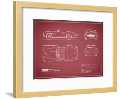Mercedes 190-SL-Maroon-Mark Rogan-Framed Giclee Print