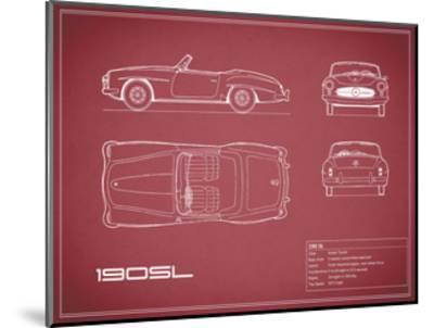 Mercedes 190-SL-Maroon-Mark Rogan-Mounted Giclee Print
