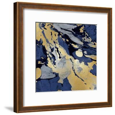 Marbleized in Gold and Blue I-Danielle Carson-Framed Giclee Print