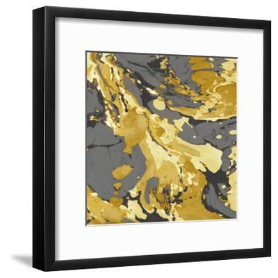 Marbleized in Gold and Grey I-Danielle Carson-Framed Giclee Print