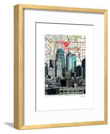 Kansas City Skyline--Framed Art Print