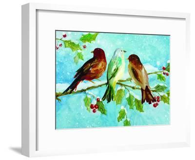 Three Birds On Holly-Advocate Art-Framed Art Print
