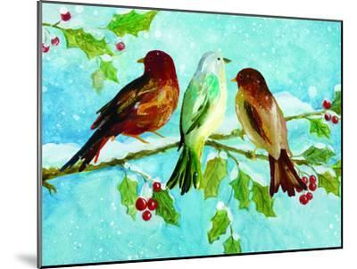 Three Birds On Holly-Advocate Art-Mounted Art Print