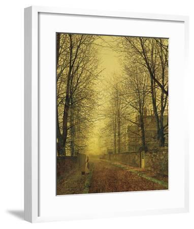 In Autumn's Golden Glow-John Atkinson Grimshaw-Framed Premium Giclee Print