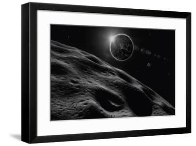 Asteroid Eclipse - Noir-David A Hardy-Framed Giclee Print