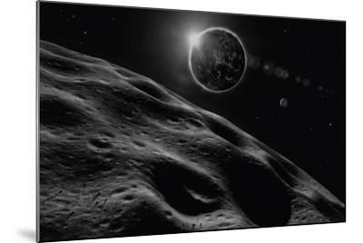 Asteroid Eclipse - Noir-David A Hardy-Mounted Giclee Print