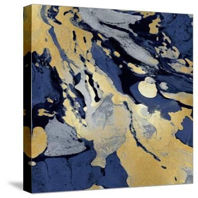Marbleized in Gold and Blue I-Danielle Carson-Stretched Canvas Print