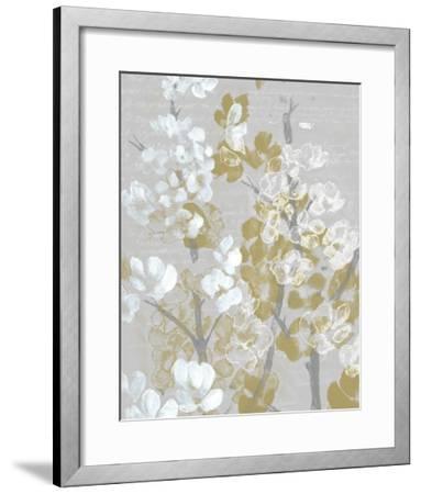 Mustard on Grey Blooms I-Jennifer Goldberger-Framed Art Print
