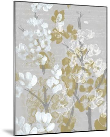 Mustard on Grey Blooms I-Jennifer Goldberger-Mounted Art Print