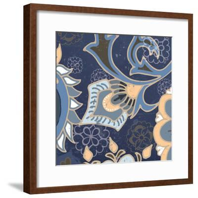 Paisley Blossom Blue III-Leslie Mark-Framed Art Print