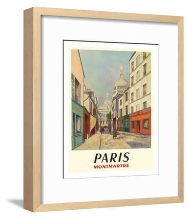 Paris, France - Butte Montmartre - Basilica of the Sacré-Cœur - Rue du Chevalier de la Barre-Maurice Utrillo-Framed Giclee Print