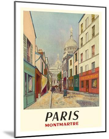Paris, France - Butte Montmartre - Basilica of the Sacré-Cœur - Rue du Chevalier de la Barre-Maurice Utrillo-Mounted Giclee Print
