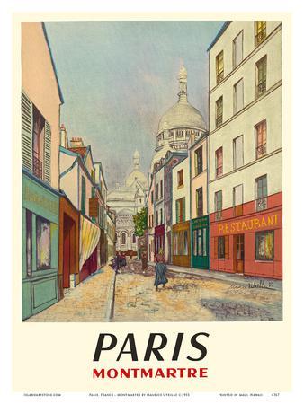 Paris, France - Butte Montmartre - Basilica of the Sacré-Cœur - Rue du Chevalier de la Barre-Maurice Utrillo-Framed Art Print