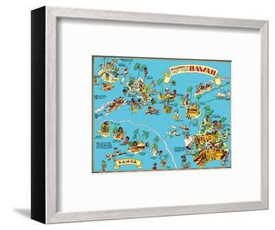 Map of the Territory of Hawaii - American Samoa - Pictorial Map-Ruth Taylor White-Framed Art Print