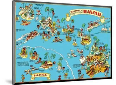 Map of the Territory of Hawaii - American Samoa - Pictorial Map-Ruth Taylor White-Mounted Art Print