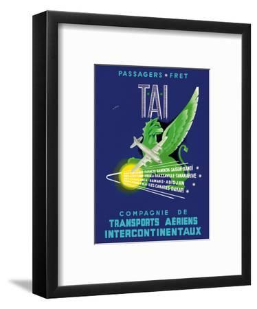 TAI Airline - Passengers Freight - Air Route Destinations between France and Africa, Asia-W^ Pera-Framed Art Print