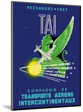 TAI Airline - Passengers Freight - Air Route Destinations between France and Africa, Asia-W^ Pera-Mounted Art Print