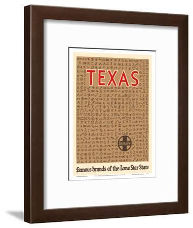 Texas - Famous Cattle Brands of the Lone Star State - Santa Fe Railroad-Pacifica Island Art-Framed Art Print