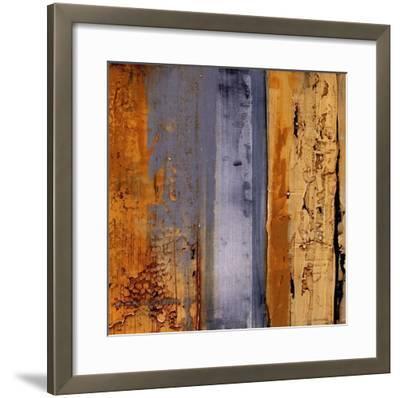 Ochre, Blue Overlay II-Sarah West-Framed Art Print
