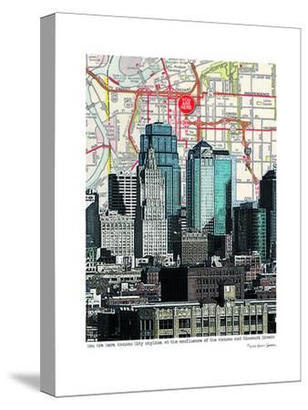 Kansas City Skyline--Stretched Canvas Print