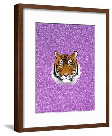 Tiger Cat With Purple Glitter-Wonderful Dream-Framed Art Print