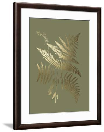 Gold Foil Ferns I on Mid Green-Vision Studio-Framed Art Print