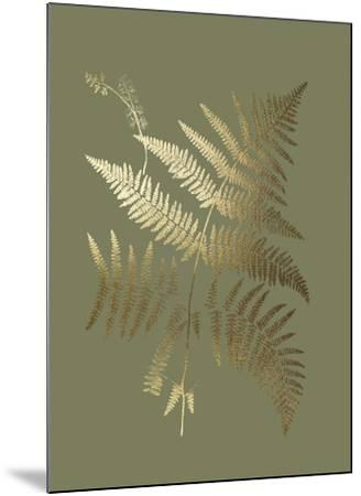 Gold Foil Ferns I on Mid Green-Vision Studio-Mounted Art Print